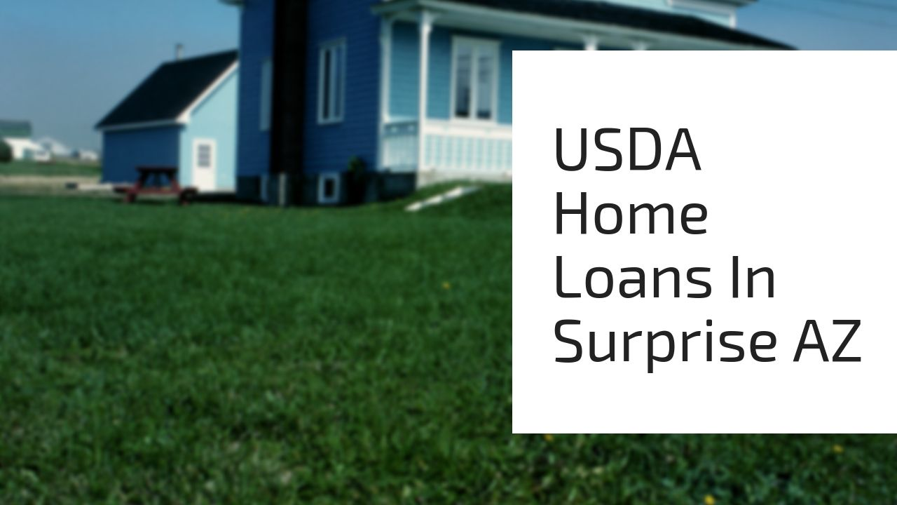 USDA Home Loans In Surprise AZ